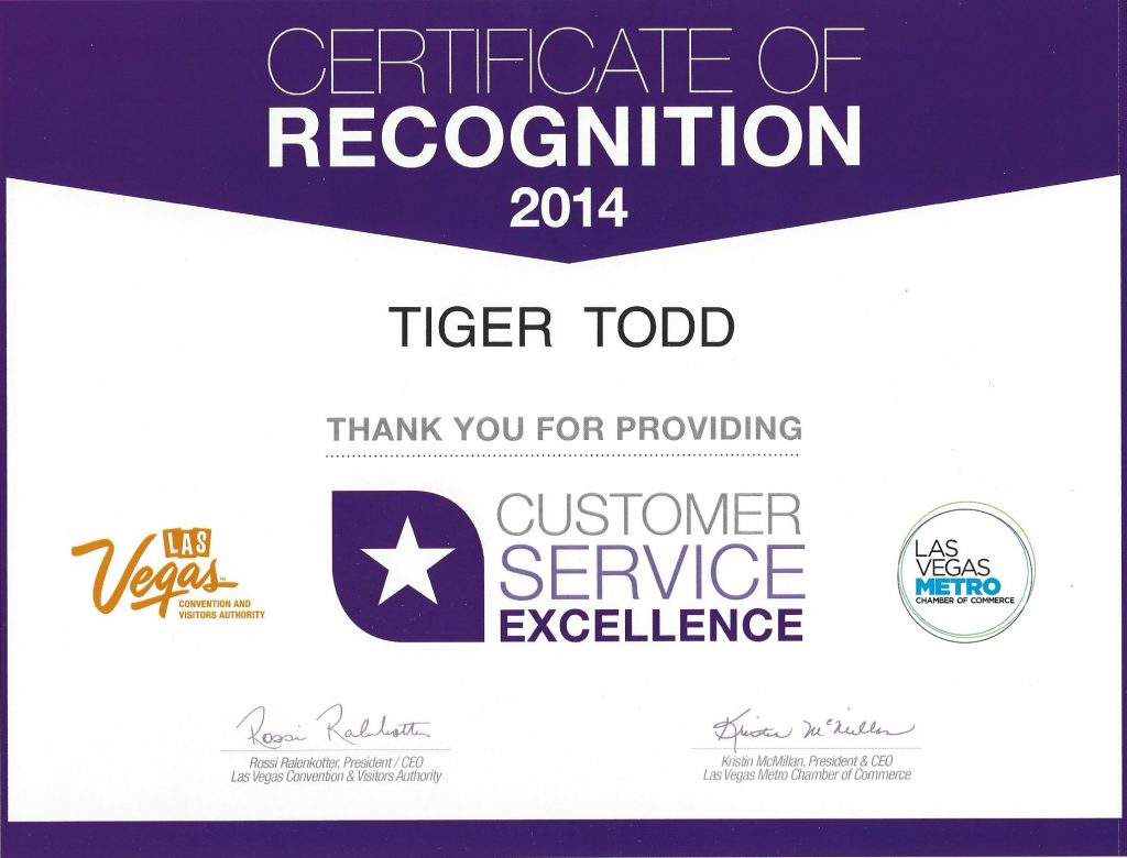 AWARD Las Vegas Service 2014 Tiger Todd