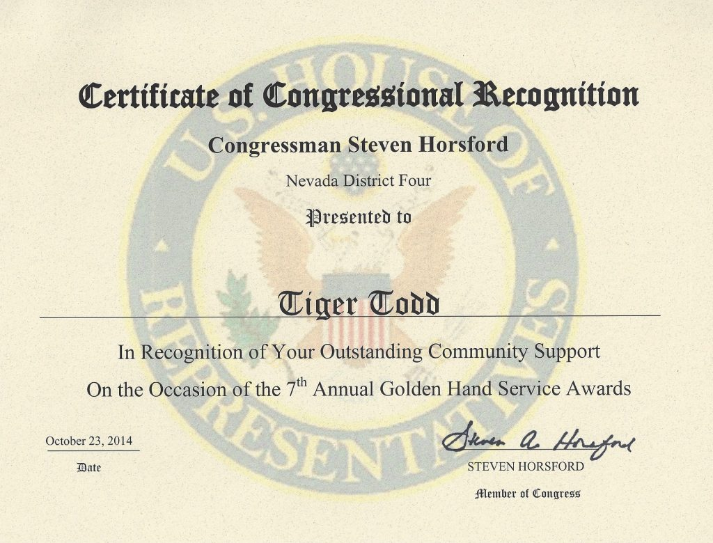 AWARD US Congress Horsford 2014 Tiger Todd