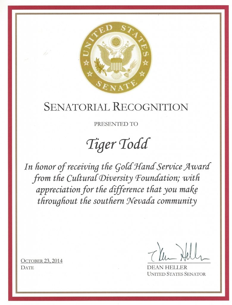 AWARD US Senate Heller 2014 Tiger Todd