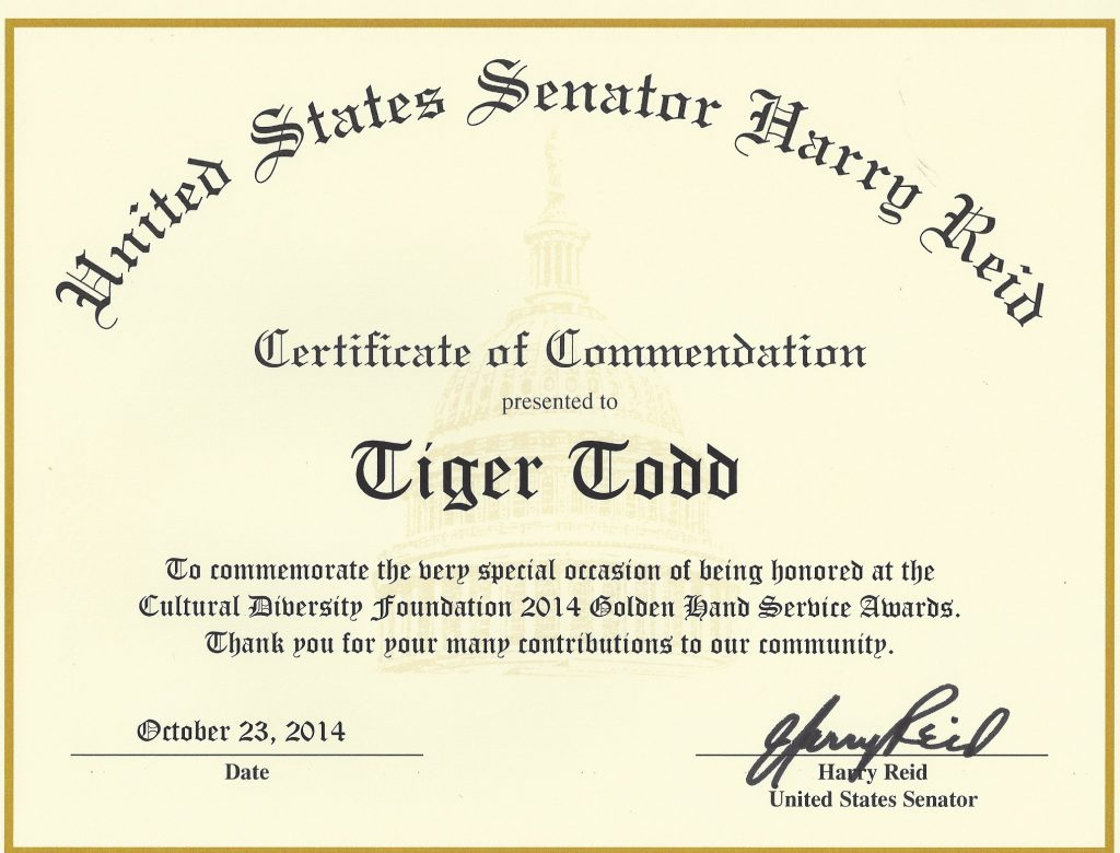 AWARD US Senate Reid Tiger Todd