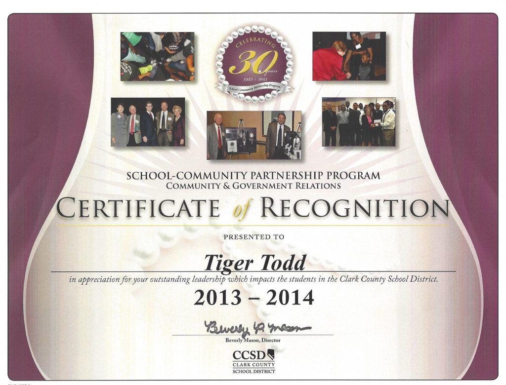 AWARD CCSD 2013-2014 Tiger Todd