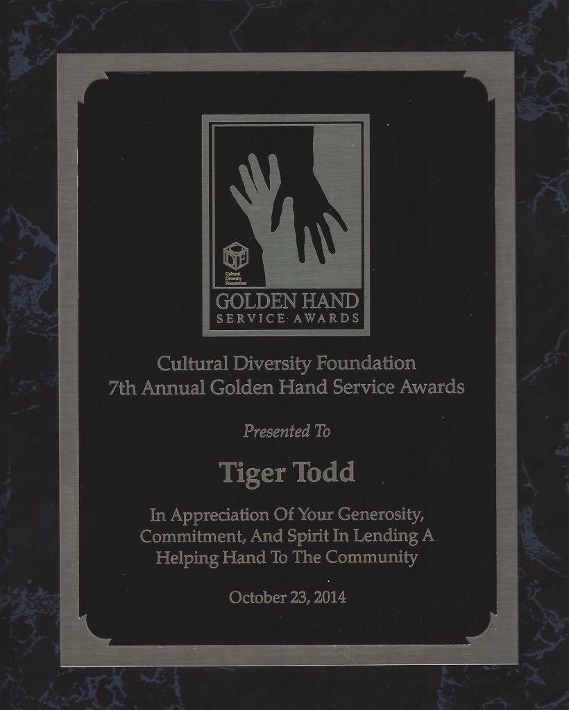 AWARD Golden Hand Service 2014 Tiger Todd