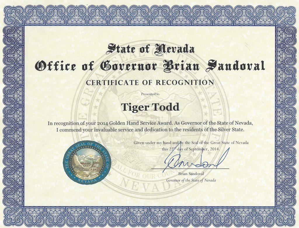 AWARD Nevada Governor 2014 Tiger Todd