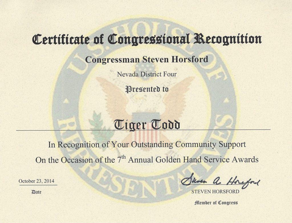 AWARD US Congress Horsford 2014 Tiger Todd