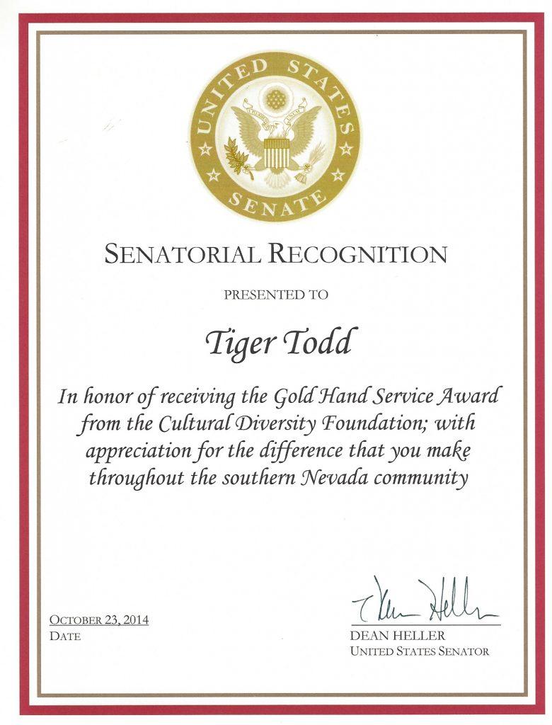 AWARD US Senate Heller 2014 Tiger Todd