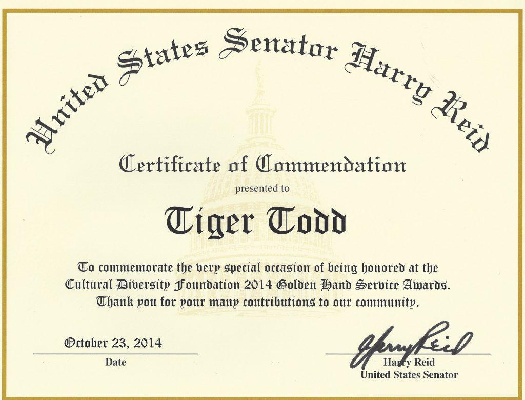 AWARD US Senate Reid Tiger Todd